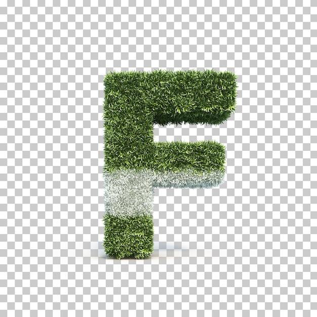 3d rendering of grass playing field alphabet f Premium Psd