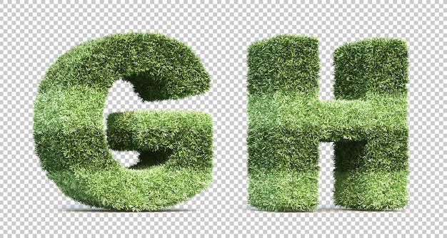 3d rendering of grass playing field alphabet g and alphabet h Premium Psd