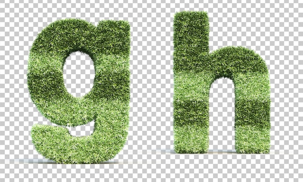 3d rendering of grass playing field alphabet g and alphabet h Premium Psd