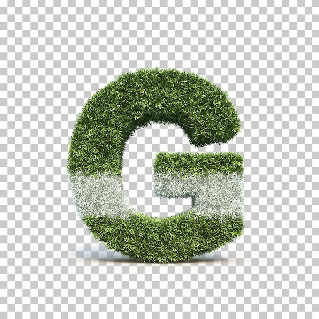 3d rendering of grass playing field alphabet g Premium Psd