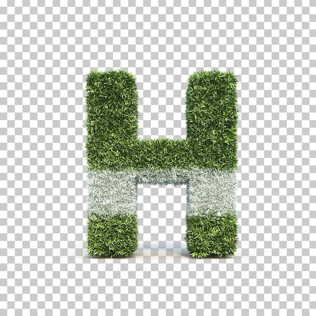 3d rendering of grass playing field alphabet h Premium Psd