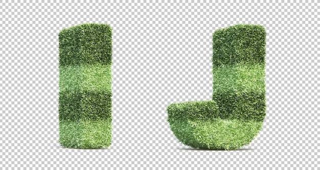 3d rendering of grass playing field alphabet i and alphabet j Premium Psd