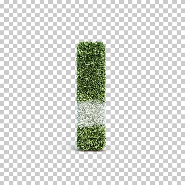 3d rendering of grass playing field alphabet i Premium Psd