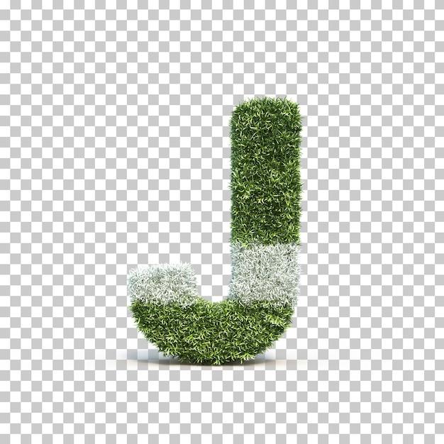 3d rendering of grass playing field alphabet j Premium Psd