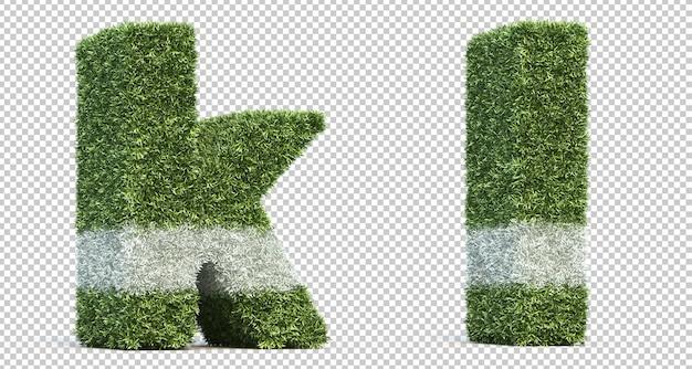 3d rendering of grass playing field alphabet k and alphabet l Premium Psd