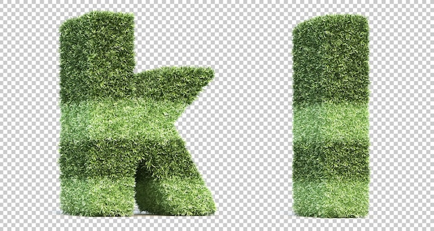 3d rendering of grass playing field alphabet k and alphabet l Premium Psd