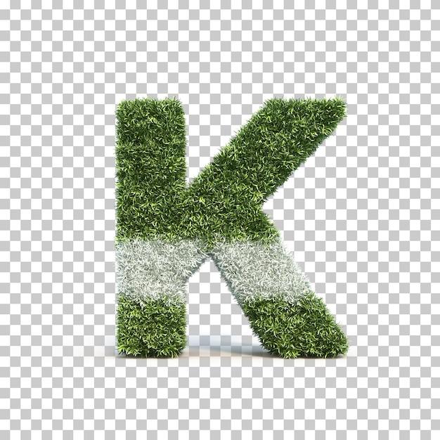 3d rendering of grass playing field alphabet k Premium Psd