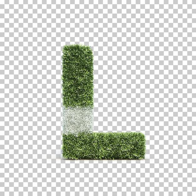 3d rendering of grass playing field alphabet l Premium Psd