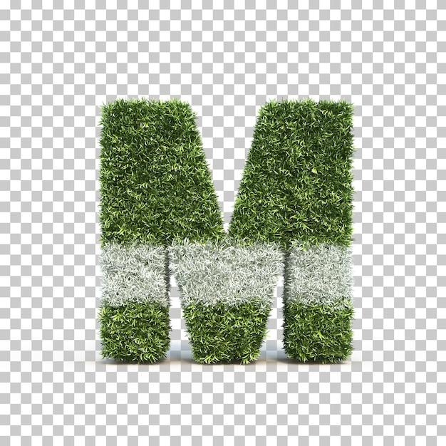 3d rendering of grass playing field alphabet m Premium Psd