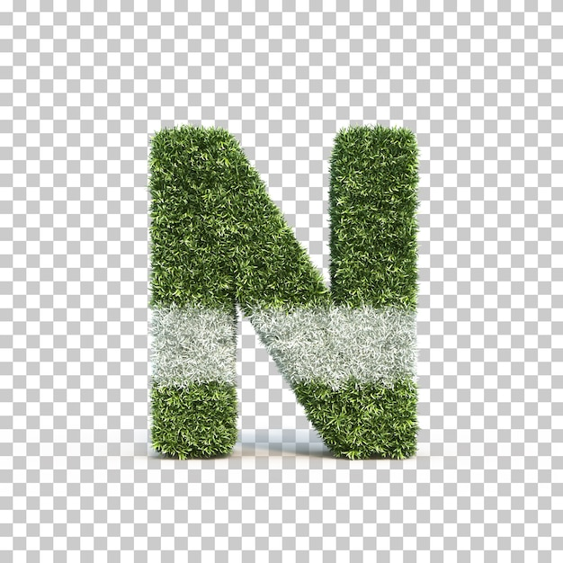 3d rendering of grass playing field alphabet n Premium Psd