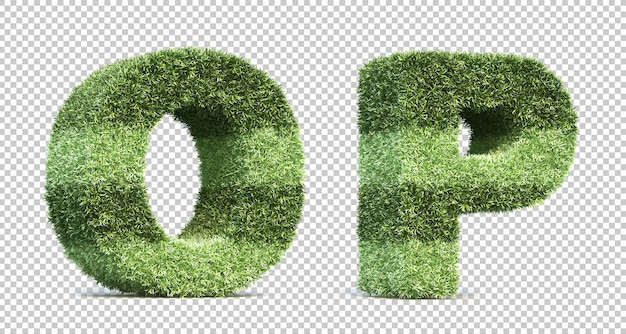 3d rendering of grass playing field alphabet o and alphabet p Premium Psd