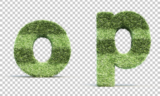 3d rendering of grass playing field alphabet o and alphabet p Premium Psd