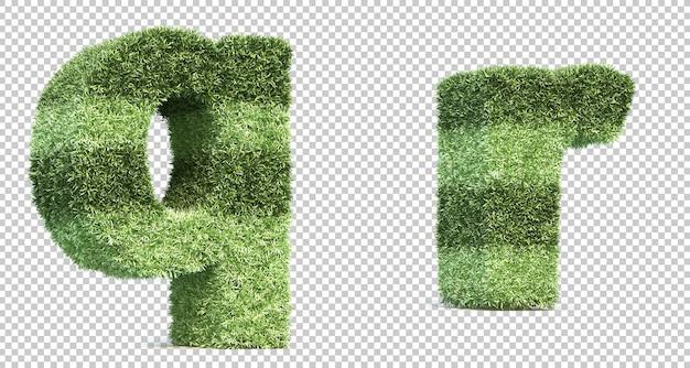 3d rendering of grass playing field alphabet q and alphabet r Premium Psd