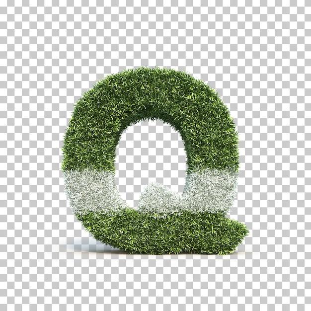 3d rendering of grass playing field alphabet q Premium Psd