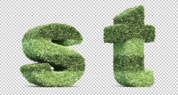 3d rendering of grass playing field alphabet s and alphabet t Premium Psd