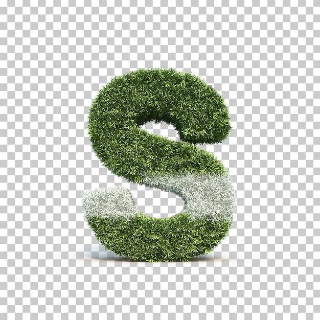 3d rendering of grass playing field alphabet s Premium Psd