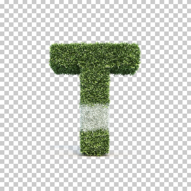 3d rendering of grass playing field alphabet t Premium Psd