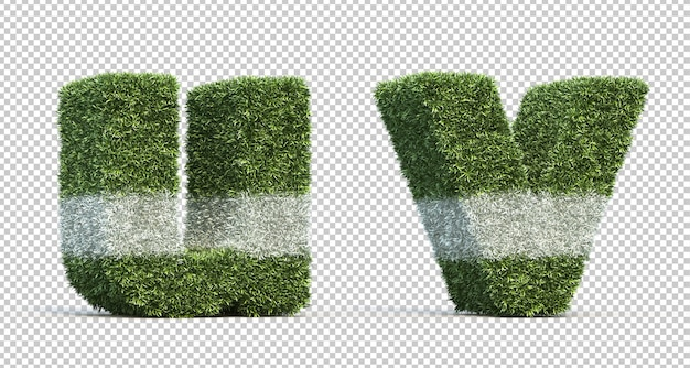 3d rendering of grass playing field alphabet u and alphabet v Premium Psd