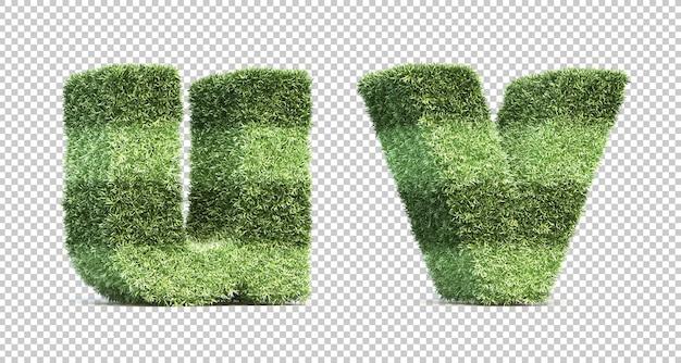 3d rendering of grass playing field alphabet u and alphabet v Premium Psd