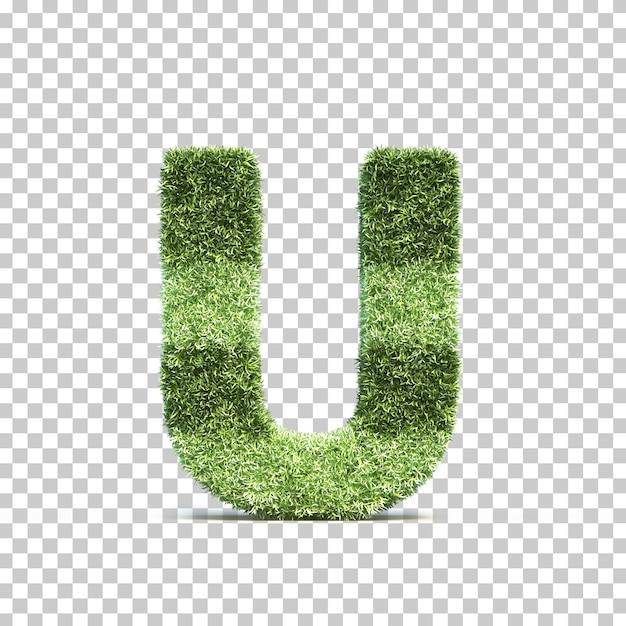 3d rendering of grass playing field alphabet u Premium Psd