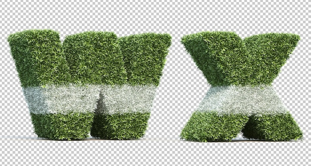 3d rendering of grass playing field alphabet w and alphabet x Premium Psd
