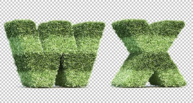 3d rendering of grass playing field alphabet w and alphabet x Premium Psd