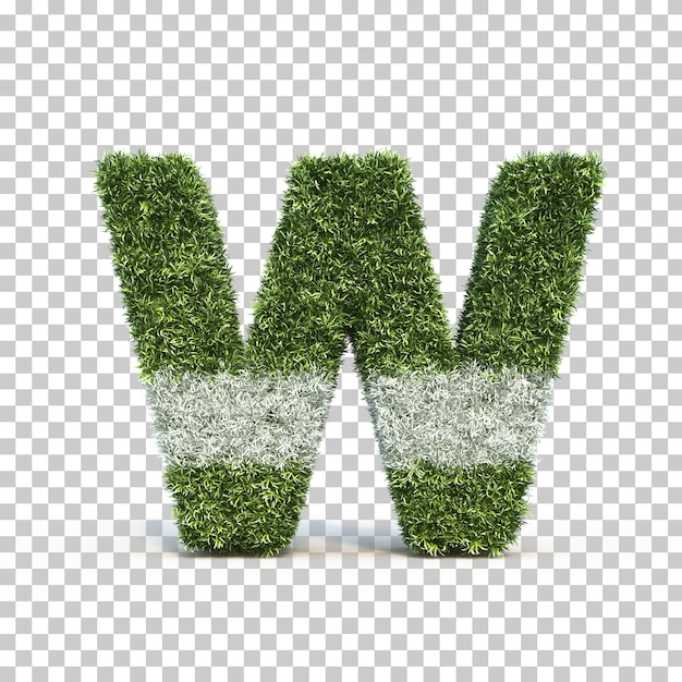 3d rendering of grass playing field alphabet w Premium Psd