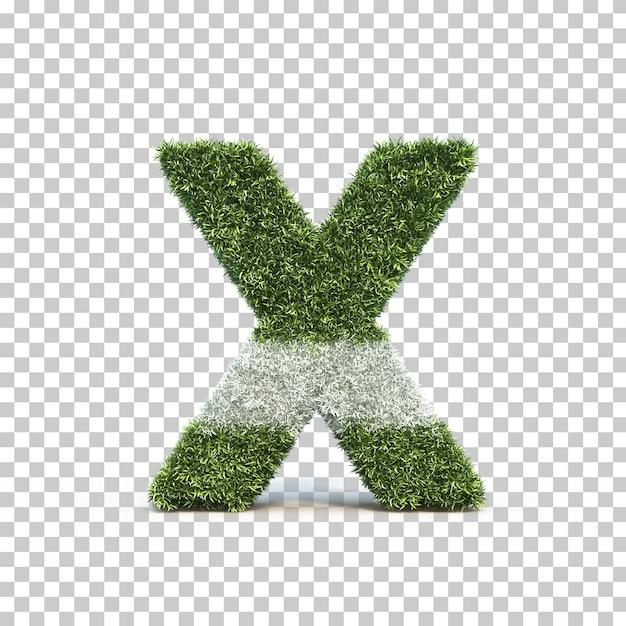 3d rendering of grass playing field alphabet x Premium Psd