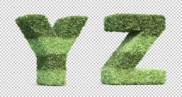 3d rendering of grass playing field alphabet y and alphabet z Premium Psd