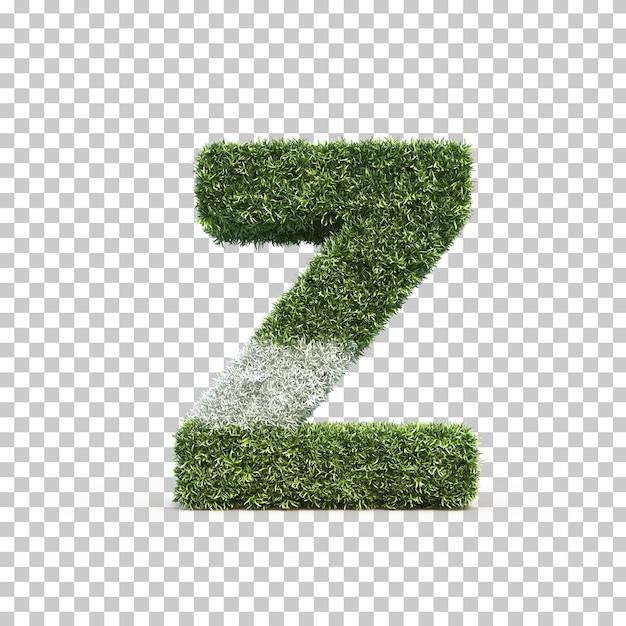 3d rendering of grass playing field alphabet z Premium Psd
