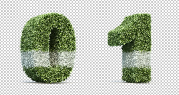 3d rendering of grass playing field number 0 and number 1 Premium Psd