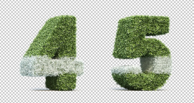 3d rendering of grass playing field number 4 and number 5 Premium Psd