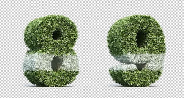 3d rendering of grass playing field number 8 and number 9 Premium Psd
