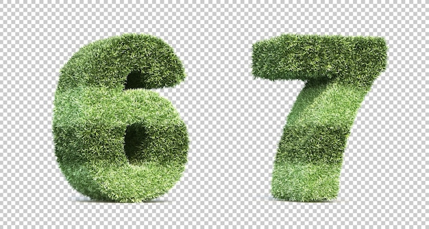3d rendering of grass playing field numbers Premium Psd
