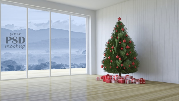 3d rendering image of interior design in christmas festival Premium Psd