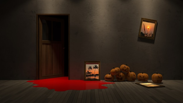 3d rendering image of pumpkin head onthe froor and photo frame mockup on the wall. Premium Psd