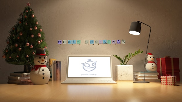 3d rendering image of working table in christmas day Premium Psd