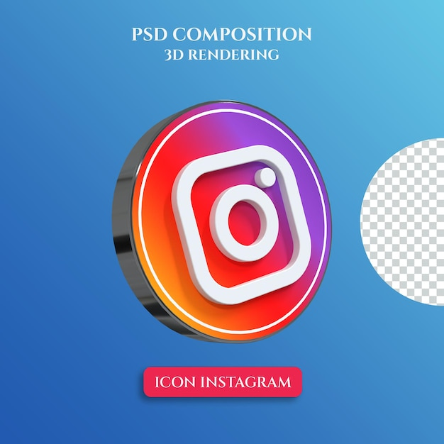 3d rendering of instagram logo with silver metal color circle style