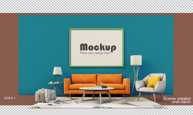 3d rendering of a living room set with a sofa Premium Psd