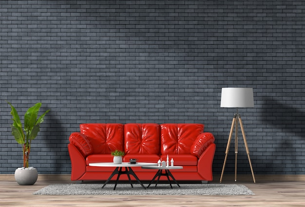 3d rendering of living room with brick  wall in modern house, loft interior design Premium Psd