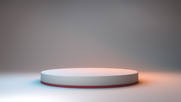 3d rendering of a minimalist podium on a neutral room and colored lights for product presentation Premium Psd