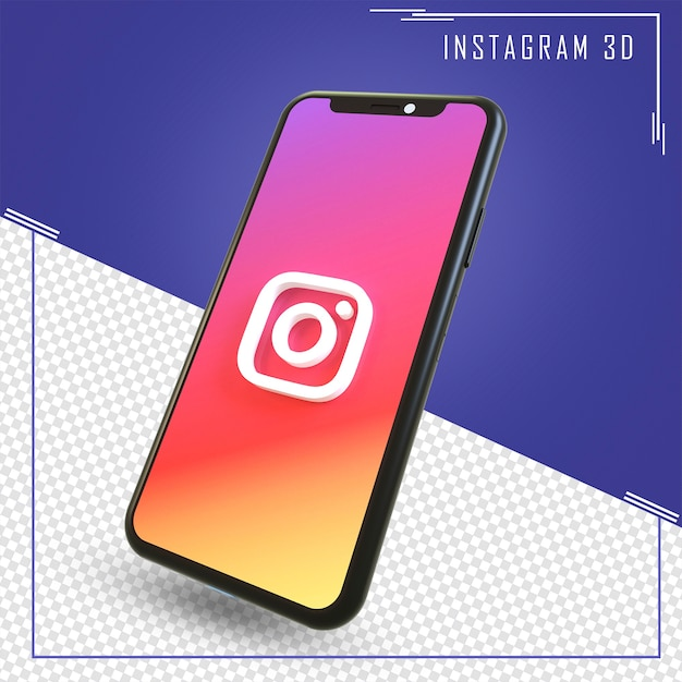 3d rendering of mobile with instagram icon isolated Premium Psd