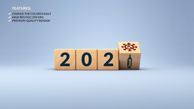 3d rendering of new year 2021 and covid vaccine concept in wooden cubes Premium Psd