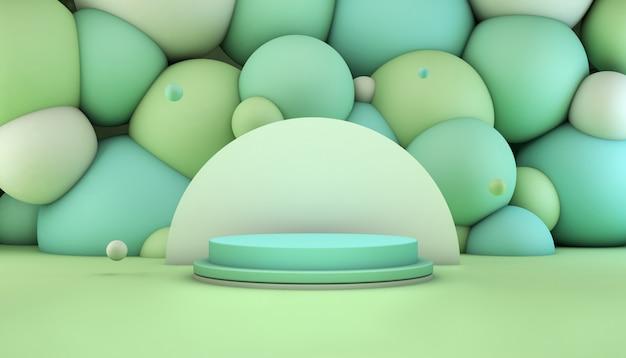 제품 프리젠 테이션을위한 배경에 공 녹색과 청록색 연단의 3d 렌더링 프리미엄 PSD 파일