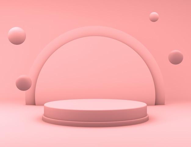 3d-рендеринг минимального розового подиума с шариками, плавающими для презентации продукта Premium Psd
