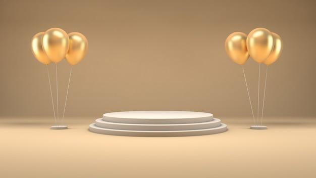 3d-рендеринг белого подиума и золотых шаров в пастельной комнате для презентации продукта Premium Psd