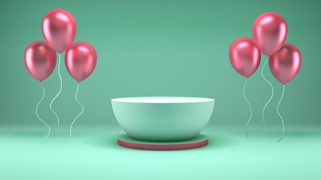 제품 프리젠 테이션을위한 녹색 방에 흰색 연단과 핑크 풍선의 3d 렌더링 프리미엄 PSD 파일