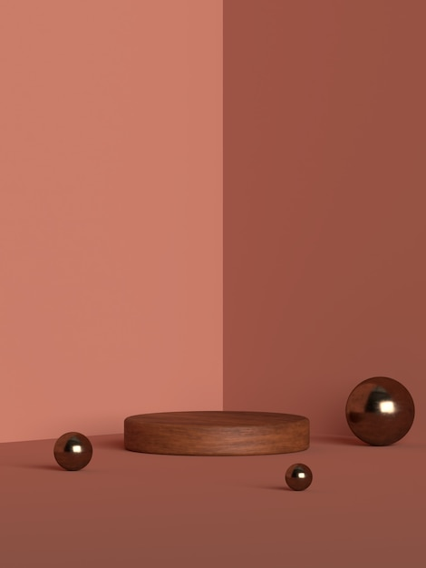 3d-рендеринг абстрактной сцены геометрической формы подиума для демонстрации продукта Premium Psd