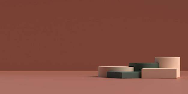 3d-рендеринг абстрактного подиума формы геометрии сцены Premium Psd