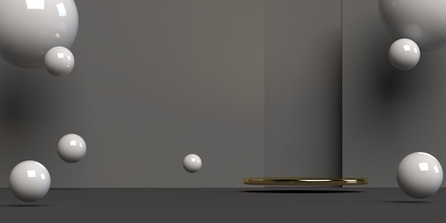 추상 장면 기하학 모양 연단의 3d 렌더링 프리미엄 PSD 파일